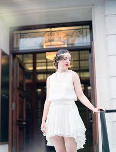 1920s style bride, 1920s inspired wedding, Hackney wedding, East London wedding, short flapper style wedding dress. Photographs all shot on film by Taylor & Porter.