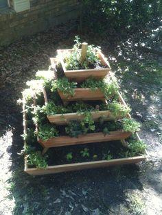 un assembled Pyramid Planter herb garden by HamersCrafts on Etsy