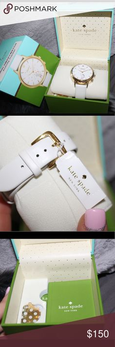 Kate Spade Hybrid Smartwatch 💕 Track your steps, sleep and other habits, set personal goals, countdown to lifes merriest moments. This watch alerts you with light notifications, controls music, automatically updates time zones, takes selfies and never needs charging. - Water Resistant to 30 m - Brand New 💕 kate spade Accessories Watches