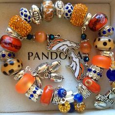 Love the Pandora Denver Bronco charm bracelet!