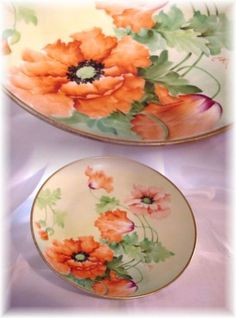 ANTIQUE RICHARD GINORI HAND PAINTED POPPY PLATE GOLD ARTIST SIGNED
