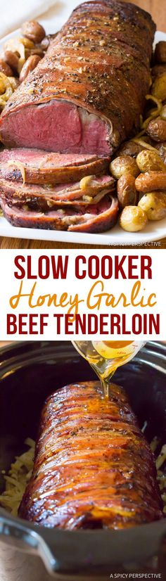 Fabulous Slow Cooker Honey Garlic Beef Tenderloin Recipe   ASpicyPerspective.com #holiday #christmas #crockpot