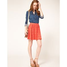 Oasis Lace Skater Skirt found on Polyvore