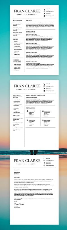 Creative Resume Template for Word, 1 / 2 Page Resume Template and Cover Letter, DIY Resume Template, Instant Download Modern Resume Template