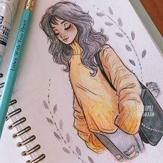 Itslopez art art, drawings e amazing drawings Amazing Drawings, Cute Drawings, Amazing Art, Fall Drawings, Pencil Drawings, Drawings Of Girls, Hipster Drawings, Pencil Art, Bel Art