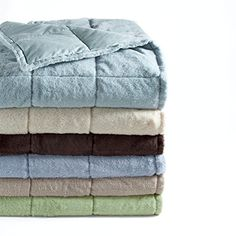 Snuggly Soft Plush Hypoallergenic Down Throw  300 TC  50 x 60 Cedar Green -- Read more at the image link.