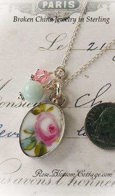 Broken China Jewelry Oval Rose Pendant Charm Necklace