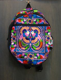 Trendy Thai Hill Tribe Embroidered Backpack in Purple | Sure Design