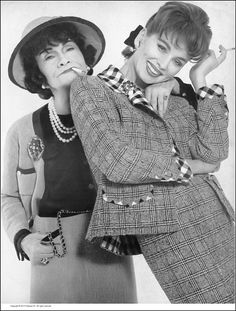 Suzy Parker with Chanel, wearing her navy and white Prince of Wales check suit lined in black and white silk surah, photo by Richard Avedon, Harper's Bazaar, March 1959