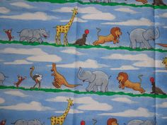 35 Inches Curious George Zoo Animal Parade Cotton Fabric