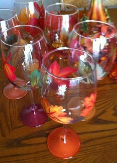 FLOWER GLASSES - Fall Leaves 6 Wine Glass Set - The Painted Flower (Powered by CubeCart) - Fall Leaves Wine Glass Set