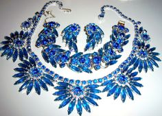 AMAZING VTG JULIANA D&E BLUE RHINESTONE NECKLACE BRACELET EARRING SET PARURE