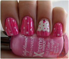 Pink Stripe Cupcake Manicure