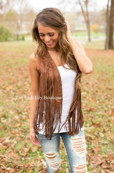 Suede With Me Fringe Vest - The Pink Lily Boutique