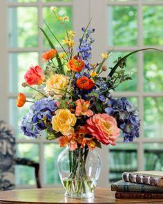 Painter's Palette Silk Flower Arrangement - Yellow Orange