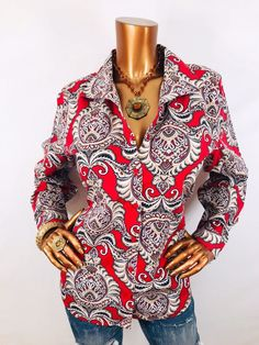 5138c590 Details about Size 2 Chico's No Iron Paisley Animal Print Button Down Shirt  Top Blouse Large L