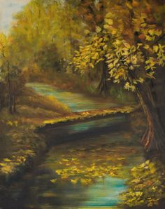 "Creekside at the Park by Shelley Bauer Oil ~ 30"" x 24"""