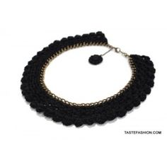 Classic Black Knitted Crochet Round Collar Necklace