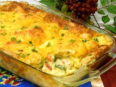 Chicken pot pie in a casserole form is very simple to make. The method is similar to the popular impossible pies.