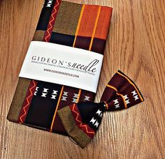 African Print Kente men's bowtie and women's headwrap by Gideon's Needle
