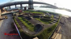 A cross between a BMX track and skatepark, the new Brooklyn Bike Park just might be the kill-two-action-sports-birds-with-one-stone park of the future. Skateboard Ramps, Mountain Bike Trails, Bike Parking, Parking Design, Skate Park, Extreme Sports, Bike Life, Aerial View, North America