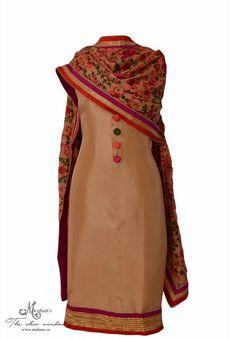 Trendy beige suit complemented with aari work dupatta