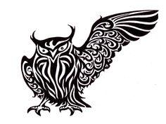 Black mad tribal owl tattoo Wallpaper.  For Will