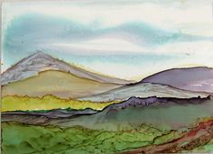 ACEO Ink Art Spring in the Mountains by PaperChainsandBeads, $4.50