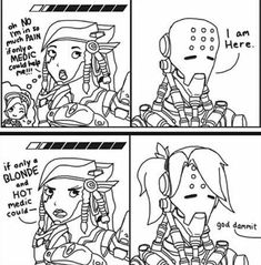 "When Pharah says ""blond"" and ""hot"" and Zenyatta only come back w/ a wig XD"