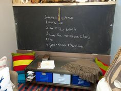 Playroom/bedroom. The chalkboard lines the underside of a fold-away bed. Just flip the locks and pull the rope to open up the bed.