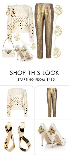 """Gold Glamour"" by jfcheney ❤ liked on Polyvore featuring Marc Jacobs, Dries Van Noten, Jennifer Fisher, HARRIET WILDE and Gucci"