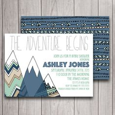 Adventure Begins Boy Baby Shower Invitation Download, Navy & Mint Tribal Camping Birthday Party Invite Mountains, Pow Wow Woodland Printable