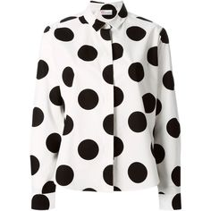 Red Valentino White Polka Dot Cotton Shirt ($335) ❤ liked on Polyvore featuring tops, shirts, white long sleeve top, polka dot top, pleated shirt, white shirt en shirts & tops
