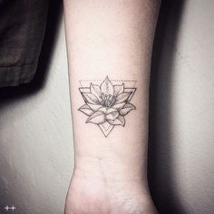 Amazing Geometric Wrist Lotus Tattoo, New Flower Tattoos October 2016
