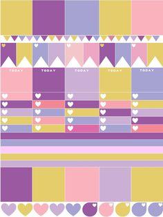 FREE PRINTABLE Planner Stickers - Pink and Purple Color Block Erin Condren Download