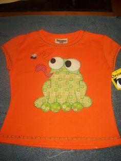 camiseta decorada con aplicaciones en tela aplique rana