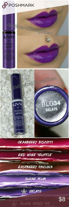 NYX Butter Lip Gloss Brand New / Sealed (Swatches from Google)  Full Size & Authentic  Color: Gelato (cool toned purple)  Buttery soft & silky smooth, NYX's decadent Butter Gloss is now available in more sumptuous shades! Each glossy color delivers sheer to medium coverage that melts onto your lips & is never sticky, leaving your lips soft, supple & kissable.  Don't forget to check out the rest of my page for more great items & discounts. NYX Makeup Lip Balm & Gloss