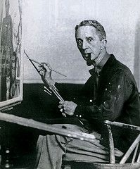 artist Norman Rockwell at his easel.