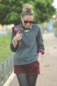 Grey Knit With Burgundy