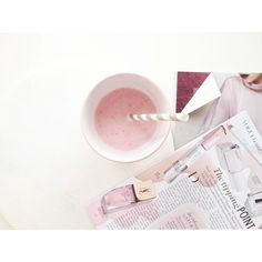Pink smoothie & fashion mags
