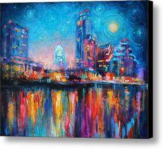 36 x 28.88 canvas print of the Austin Skyline   Austin Art Impressionistic Skyline Painting-2 By Svetlana-Novikova