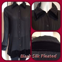 Black Pleated Silk Jacket with velvet trim & so perfect for travelling & going from day to evening  www.sannizet.com.au