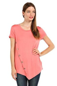 SOLID ASYMMETRICAL HEM BUTTON TRIM TOP-(FREE SHIPPING on NEW items Fri/Sat!!) coral95% RAYON 5% SPANDEX.MADE IN U.S.A.
