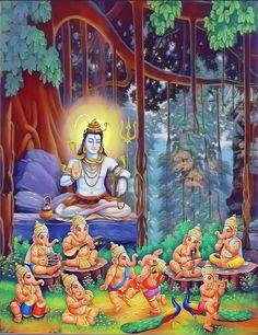 Lord Shiva and Bal Ganesh dancing in creative art painting Shiva Hindu, Shiva Shakti, Hindu Deities, Hindu Art, Ganesh Pic, Shri Ganesh, Ganesha Art, Krishna, Indian Gods