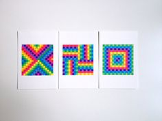 Lot de 3 dessins pixelisés - Motif, couleur, carré - 10 x 15 cm - #leaburrot #pattern #colors #squares #collection #marker #tria #drawing #optic #opart #berlin #artinberlin