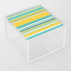 Complex Stripes - Turquoise and Yellow Acrylic Box by laec Jewelry Gifts, Unique Jewelry, Good Advice For Life, Storage Places, Acrylic Box, Decorative Boxes, Outdoor Blanket, Stripes, Turquoise