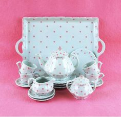 Pink Polka Dot Tea Set!!! Bebe'!!! So cute!!!