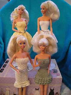 Crochet Barbie dresses for my Rescue Barbies (rescued from thrift shops, yard sales, etc.)