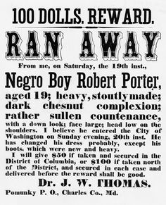 A poster asking for the return of a runaway slave