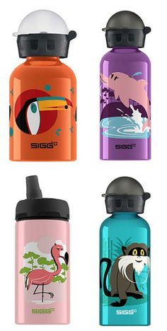 Cute Sigg kids water bottles in partnership with Cuipo: Each one saves 1 square meter of rainforest.